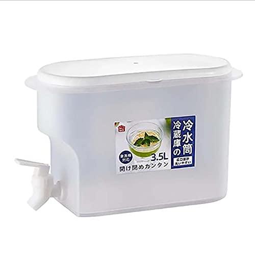 Bebida de agua Jugo de fruta Bebida Dispenser.3500ml Jarra de agua con grifo de jugo de limón. Contenedor de agua de plástico para nevera (blanco)
