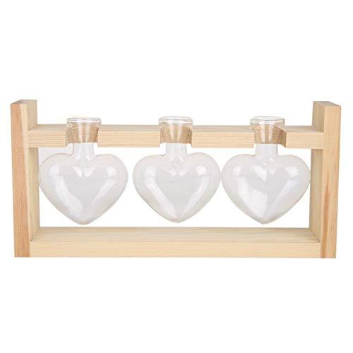 SHANG-JUN Fait à la Main l'amour en Forme de Vase en Verre Transparent Cadre en Bois Fleurs Bonsai Bureau for Le ménage Bureau Chambres Décoration Durable (Color : C)