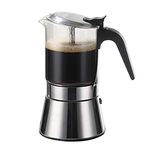 SIXAQUAE Moka Induction Stovetop Espresso Maker,Crystal Glass-top & Stainless Steel Espresso Moka Pot,Classic Italian coffee maker,240ml(6cup)