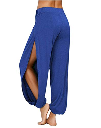 Pantalon Yoga Femme de Sport Ample Fluide Fente Jogging Fitness Running Elastiques Stretch avec Poches Portable Fitness Gym Taille Haute Gaine Large Confortable