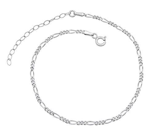 Mujer Soporte de cadena figaro cadena plata de ley 925rodio 2,3mm ancho 20-25cm de largo soporte cadena pulsera Anklet anlaufgeschützt sin níquel