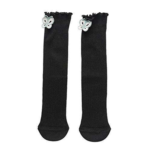 ZZBO Kinder Mädchen Strümpfe mit Pilz Lutscher Hund Schmetterling Dekor Streifen Mid Tube Socken mit Rüschen Haufen Lange Crew Socken Einfarbig Sneaker Socken Komfortabel Baumwollesocken