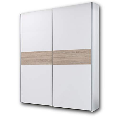 PULS Eleganter Kleiderschrank mit viel Stauraum - Vielseitiger Schwebetürenschrank in Weiß, Bauchbinde Eiche Sonoma - 170 x 195 x 58 cm (B/H/T)