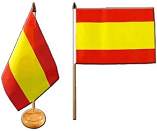 Flaggenfritze® Tafelvlag Spanje zonder wapen met gelakte houten sokkel