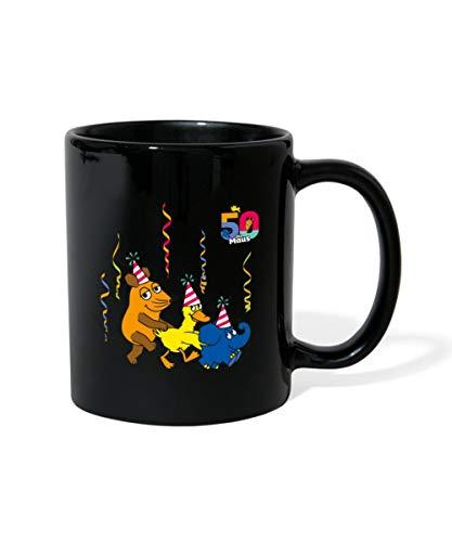 Die Sendung Mit Der Maus 50 Jahre Jubiläum Polonaise Tasse einfarbig, Schwarz