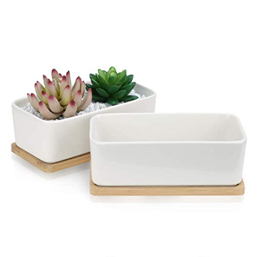 Succulent Pots, OAMCEG 6.5 Inch Rectangular Ceramic Planters, Set of 2 White Cactus Container, Bonsai Pots, Flower Pots with Drainage Hole/Bamboo Tray(Plants NOT Included)
