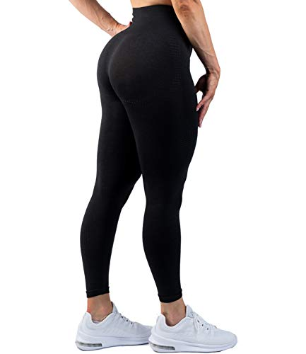 DUROFIT Damen Dotted Hohe Taille Booty Sport Leggings Tights Sportleggings Yoga Push Up Leggings Sporthose mit Bauchkontrolle Anti Cellulite Jogginghose Sport Leggins für Gym Yoga Pilates Schwarz S