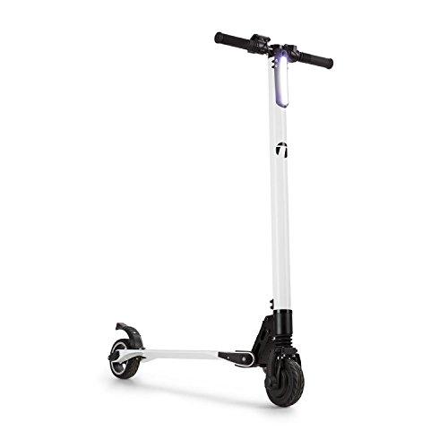 TAKIRA Racing Sc8ter - scooter, elektrische scooter, e-scooter, carbon constructie, tot 22 km/h, 5 snelheden, opvouwbaar, LED-koplampen, 250 watt, tot 120 kg, 28 km bereik, wit