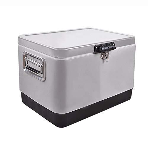 LIYANBWX kylbox kylskåp kylare och varmare väskor bärbar bil kylskåp frys rostfritt stål med handtag för resor och camping 50L