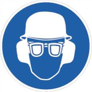 Bord Gehoor- ogen en hoofdbescherming gebruiken 20 cm Ø aluminium