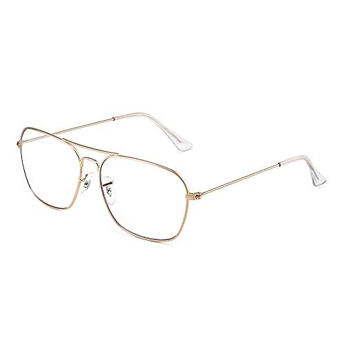 Gafas de Vista Aviador Bloqueo Luz Azul Computadora Mujer Hombre, Cuadradas Proteger Ojos Vídeo Anteojos Anti Deslumbramiento (Marco Dorado Punta del Templo Claro)
