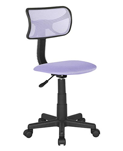 JJS Kids Mesh Rolling Desk Chair, Small Swivel Office Computer Chair for Teens, Low-Back Adjustable Upholstered Student Task Chair, Purple