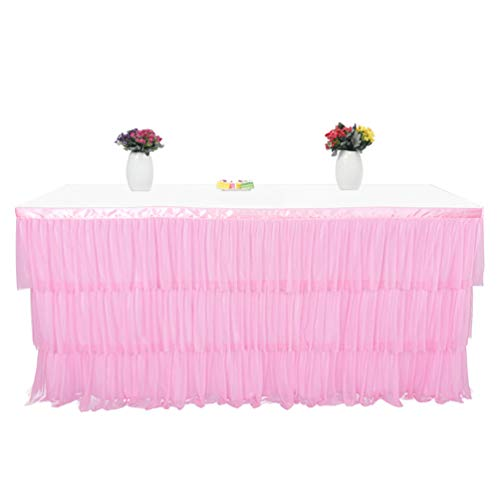 Fashionbeautybuy - Gonna da Tavolo a 3 Strati, con Increspature, tovaglia per Feste, Matrimoni, Decorazione per la casa, 1,8 m, 2,7 m, Rosa, 182 cm
