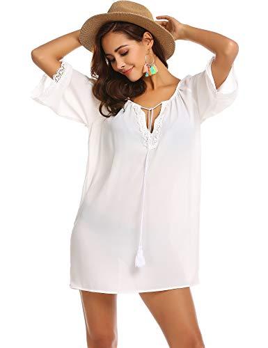 Trudge Damen Bohemian Tunika Strandkleid Chiffon Blusen Strandtunika Rundhals 3/4-Arm Oberteile Kleider Casual Loose Shirt, Weiß, EU 44/XXL