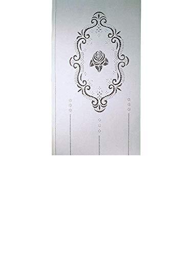 Zenoni & Colombi Coppia di Tende Ricamate a Mano Mary's Rose Made in Italy Misto Lino Varie Dimensioni (45x150)