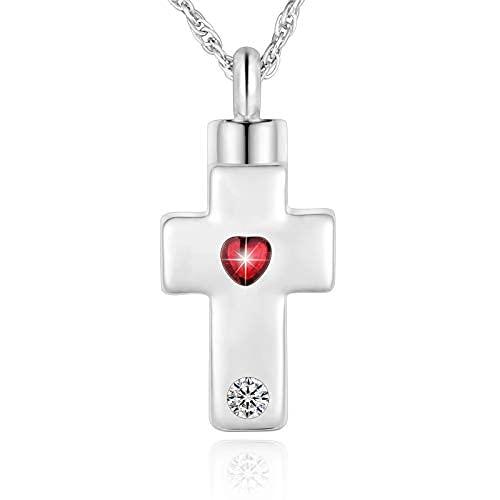 Collar con cruz de cremación para Ashes Memorial Cross Urn Colgante de acero inoxidable