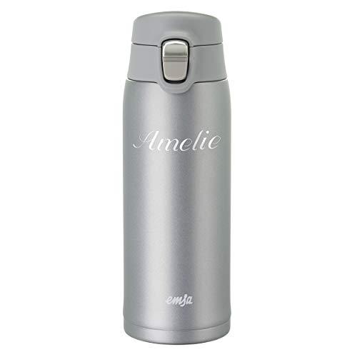 Emsa Thermobecher Travel Mug Light 0,4 L Grau mit persönlicher Rund-Gravur gelasert und Flip-Deckel Verschluss