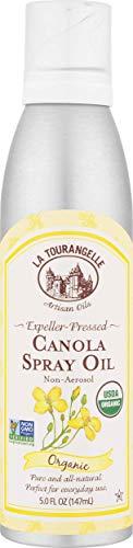 La Tourangelle Organic Canola Oil Spray 5 Fl. Oz., All-Natural, Artisanal, Great for Cooking and Baking or as a Dressing or Marinade