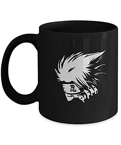 N\A Regalo para los Amantes del Anime Anime Kakashi, Manga, Hobby, Japón, Ninja, Viendo Anime, Naruto Taza de café de cerámica Negra de 11 oz M1S98X