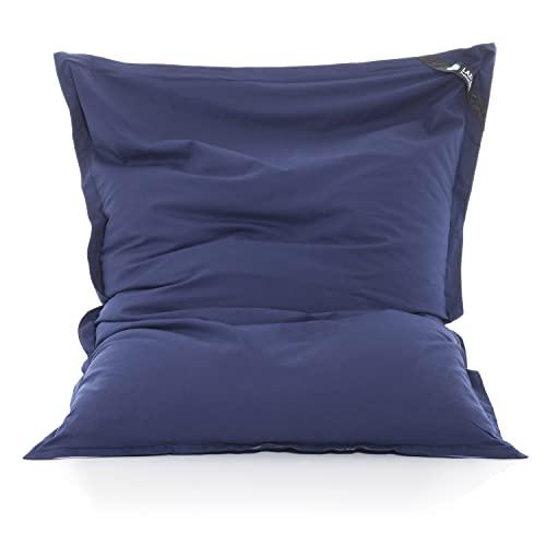LAZY BAG Original Sitzsack XXL 400L Riesensitzsack aus Baumwolle 180x140cm (Blau)