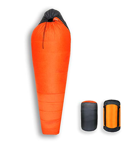 Litume 14F 1.1 lbs 800 Fill Power Goose Down Sleeping Bag, Outdoor Mummy Travel Bag with Carry Bag and Compression Bag, Lightweight and Portable, for Hiking Traveling Camping Backpacking (GD500)