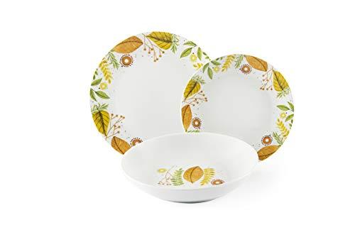 Excelsa Autumn Leaves - Vajilla de 18 piezas, porcelana