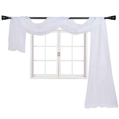 """Imperium Comfort Window Scarf 54"""" W x 144"""" Long Solid Sheer Curtains Voile Scarf Swag Drapes Valance for Window, Bedroom, Living Room, Kitchen (1 Scarf: 54W Inch x 144L Inch, White)"""