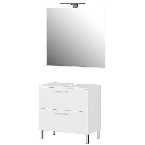 Germania 2-tlg. Badezimmer-Set 8548-84 GW-Arvada, bestehend aus Waschbeckenunterschrank und Spiegel, in der Farbe Weiß