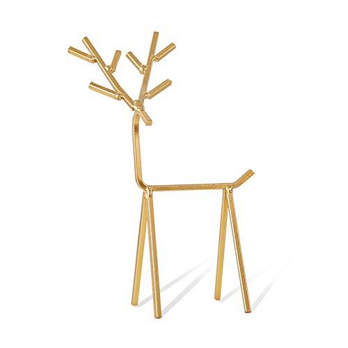 Colgador de joyas Soporte de exhibición de ciervos de ciervos de metal de oro para mostrar, tablero de la torre de la torre de la tableta del collar del collar del collar del árbol para las mujeres, l