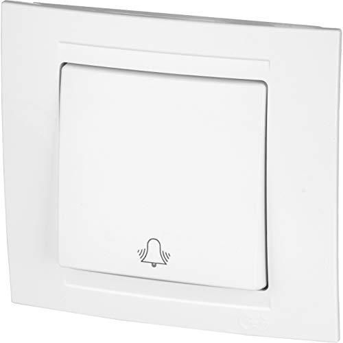 Botón UP con símbolo de timbre, todo en uno, marco + inserto empotrado + cubierta (serie M1 blanco puro).