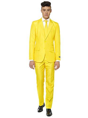 Suitmeister Men Suit Juego de Pantalones de Traje de Negocios, Amarillo Macizo, XL para Hombre