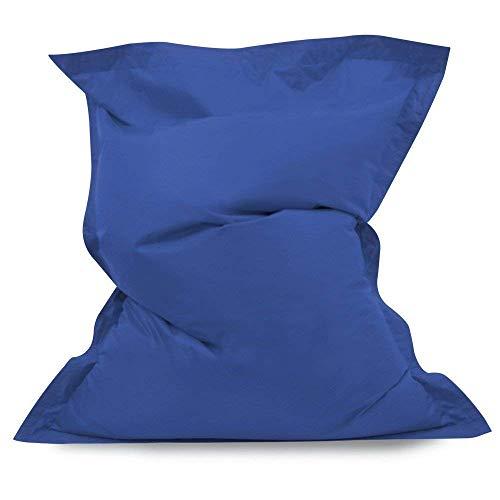 Hi-BagZ® - Coussin pouf géant - 4 positions - Pour le sol - Extralarge - Pour l'intérieur et l'extérieur - 100% résistant à l'eau et aux intempéries - Bleu