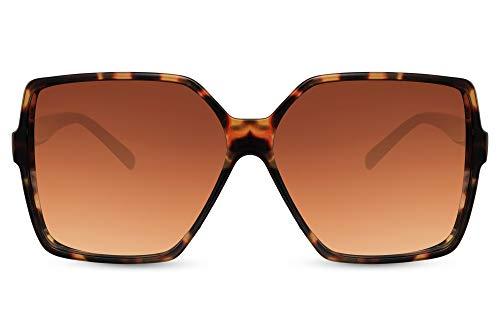 Cheapass Sunglasses Gafas de sol de gran tamaño Cuadradas Butterfly Celebrity Fashion Leopard Shades con lentes degradados marrones Mujeres protegidas UV400