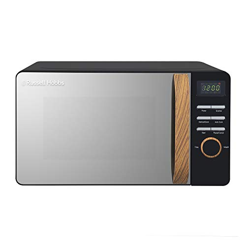 Russell Hobbs RHMD714B-N 17L 700w Scandi Black Digital Microwave with 5 Power Levels, Wood Effect Handle & Dials, Clock & Timer, Automatic Defrost, Easy Clean, 8 Auto Cook Menus