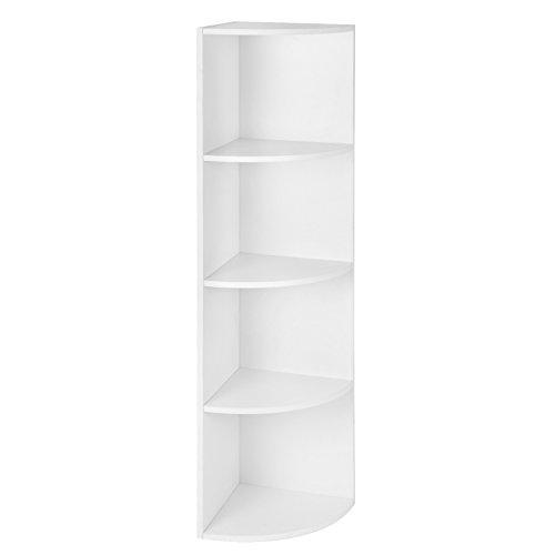 VASAGLE 4 Ebenen Eckregal, Standregal, Bücherregal aus Holz, für Küche, Schlafzimmer, Wohnzimmer, Büro, Weiß LBC42WT