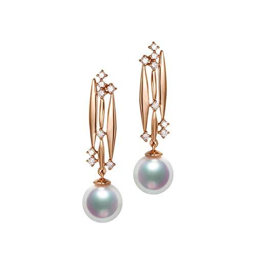 KnSam 18K Oro Rosa Pendiente, Arete Redondo Perla Diamante Blanco, Perla Blanco, Color Oro Rosa