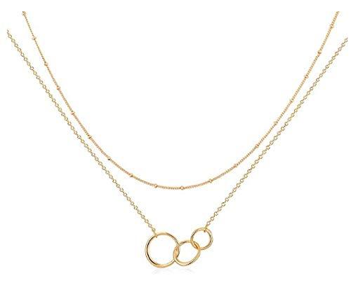 NC86 Collar de corazón en Capas Colgante Hecho a Mano 18k Chapado en Oro Delicado Gargantilla de Oro Barra de Flecha Collar Largo de Capas para Mujer