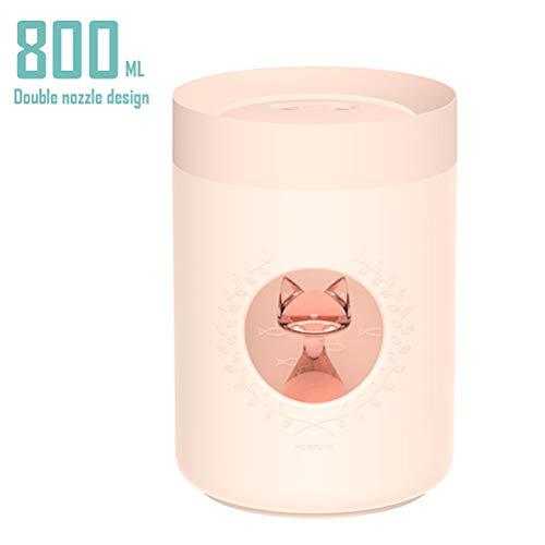 LuxTai Dubbele kop 800ml etherische olie Diffusers for aromatherapie, Quite Diffuser luchtbevochtiger met Night Lights, tot 10 uur gebruik, de slaapstand, for thuis, kantoor, Slaapkamer-White