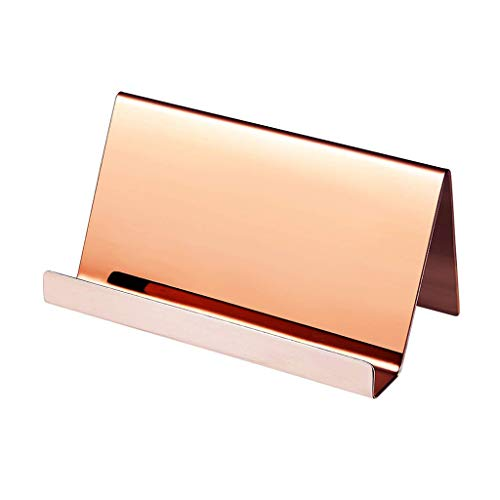 YOYOHOT 1 Pc High-End Business Name Card Holder Stainless Steel Business Card Holder Display Stand Rack Desktop Table Organizer Desk Accessory Decor Size:9x5x4.5cm Rose Gold/Silver