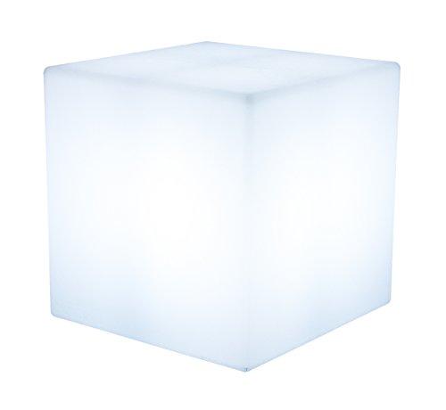 8 seasons design | LED Würfel Shining Cube (43 cm groß, RGB multicolor, dimmbar, Farbwechsel, Beistelltisch, Lounge Leuchte, Würfelleuchte, Innen- & Außenbeleuchtung) weiß