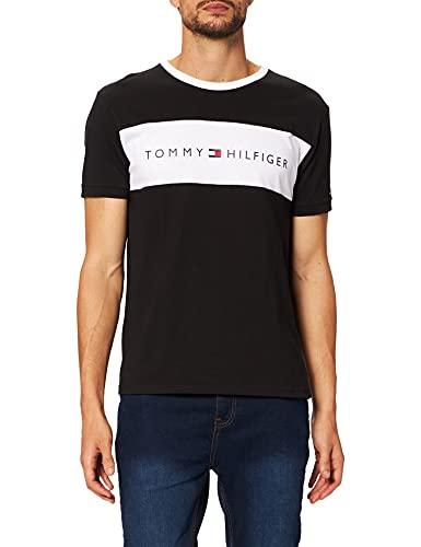 Tommy Hilfiger Herren CN SS Tee Logo Flag Pyjamaoberteil, Schwarz, L
