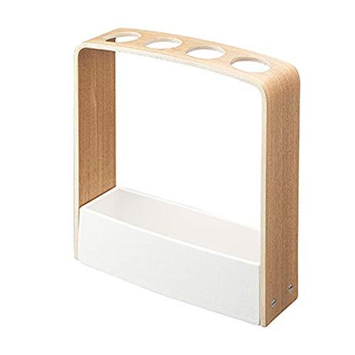 AXIANQI - Portaombrelli in legno di noce con manico lungo, in legno naturale, facile da riporre bianco