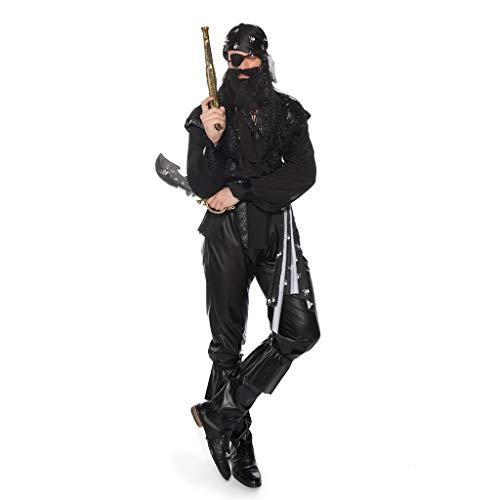 LXJ Disfraces de Halloween, decoración de Fiesta de Disfraces para Hombres, Disfraz de Pirata monocular, Fibra de poliéster Negra, con Bandana, Pulsera, Antifaz, cinturón y Cubre pies