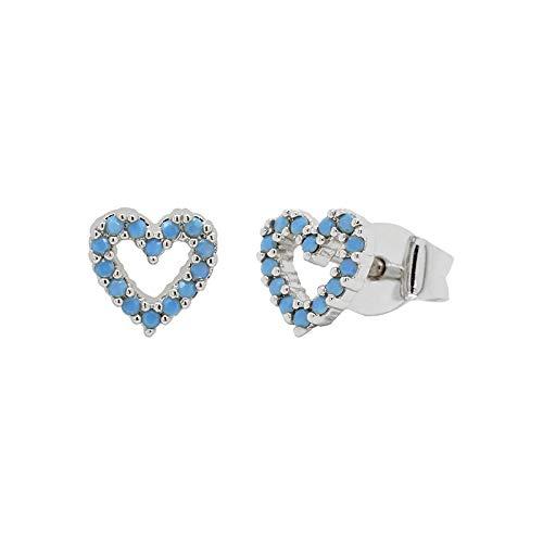 925 Pendientes De Plata Esterlina para Las Mujeres Simple Turquoise Heart Shape Stud Pendientes Zircon Diamond Jewelry