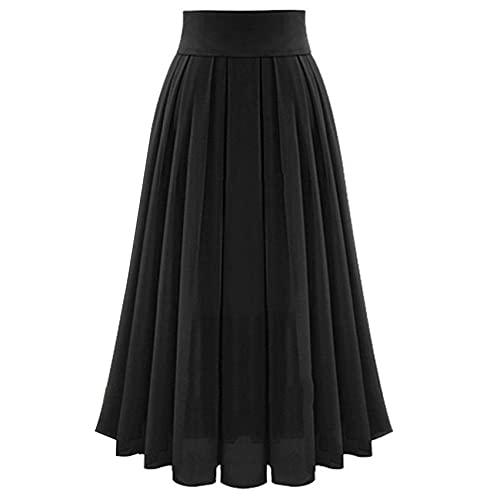 Falda De Media Longitud Primavera Y Verano Color SóLido Cintura Alta Elegante Cintura Plisada Falda Larga De Gasa Falda Larga Elegante para Mujer Vestido