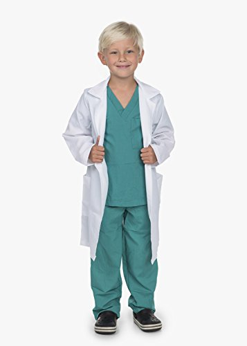 Kidcostumes Doctor Medical Scrubs with White Lab Coat Child Youth (S 4-6 Child)