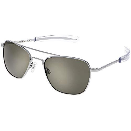 Randolph Engineering quadratische Piloten Sonnenbrillen in mattem Chrom-grau AF085 55 Grey Silver