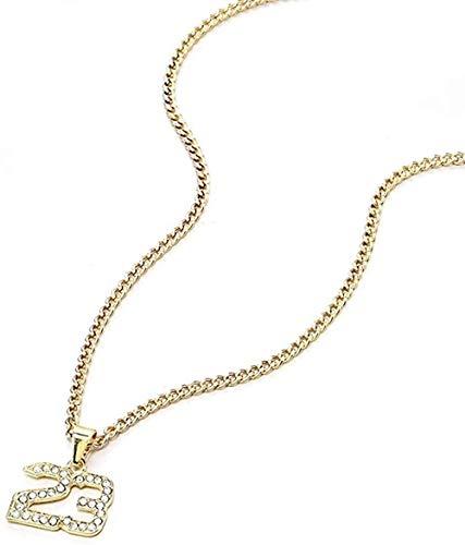 YZXYZH Collar Crystal Hip-Hop Basketball Legend Número 23 Collar Y Colgante Glitter Gold Collar De Cadena Cubana Joyería para Hombres