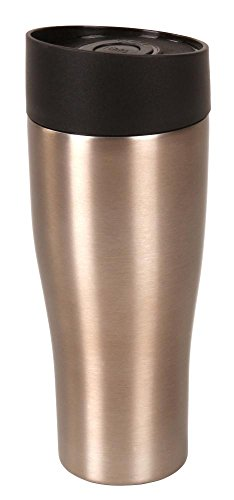 Steuber Thermo Trinkbecher 380 ml aus Edelstahl metallic-braun, Winter Sportflasche mit Schraubverschluss, doppelwandige Thermoflasche