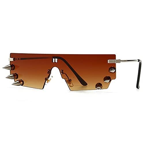 Heigmz Nvtyj - Gafas de sol sin montura para hombre (lentes de color: degradado de té)